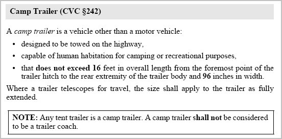 Below are quotes from the California Vehicle Code as of 8/27/10. You can take these with you to the DMV to make sure they register your trailer properly.
